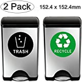 (2 Pack) 152.4mm X 152.4mm Recycle & Trash Decal Sticker for trash cans - Back Self Adhesive Vinyl