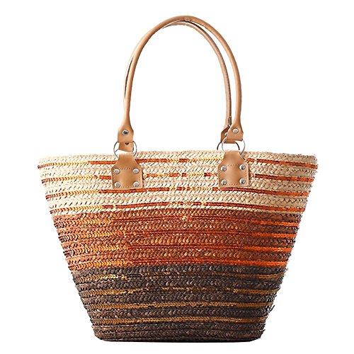 Borsa a strisce della borsa della tracolla della spalla Borsa a Tessuto a colori della borsa di modo delle donne Tessuto di spiaggia semplice del tessuto di tessitura di gradiente , brown brown