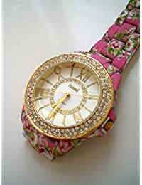 Sami RSM-77941-1 Reloj de Pulsera de Mujer Corona Cristal Correa Rosa Flowers Print
