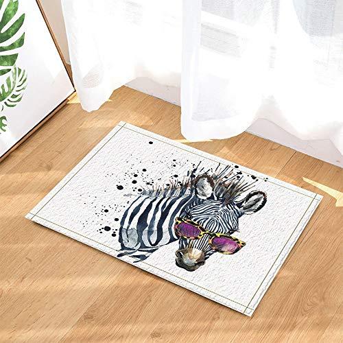 fdswdfg221 Aquarell komödiantischen Tier Dekor lustige Zebra mit Sonnenbrille Bad Teppiche Rutschfeste Fußmatte Boden Eingang Indoor Haustür Matte Kinder Badematte 60X40CM Badezimmer Zubehör -