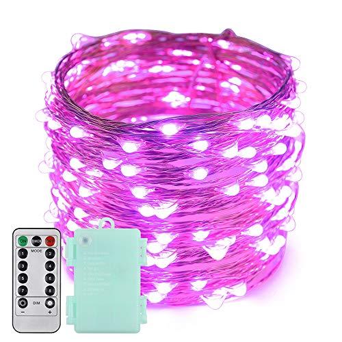 Erchen Batteriebetrieben LED Lichterkette, 66 FT 200 LED 20M dimmbare Kupfer Draht Lichterketten mit Fernbedienung 8 Modi Timer für Innen Außen Weihnachten Party (Lila) -