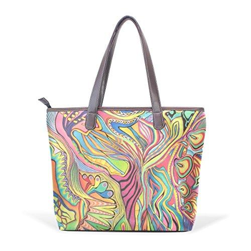 Coosun Womens Buntstift und Marker abstrakte Zeichnung Pu-Leder große Einkaufstasche Griff...