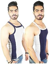 Zimfit Men's Gym Vest 112(Grey_Navy)