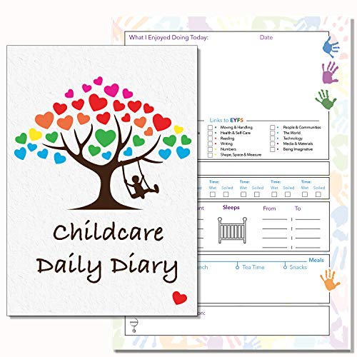 Kinderbetreuung Daily Diary, eyfs links, Daily Log Record Diary, childminders, Early Years Care, Kindergarten Daily Diary, 13(PVC)