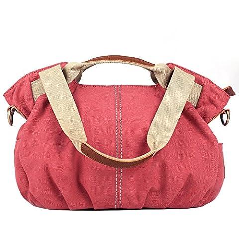 Eshow Damen Canvas Freizeit Täglich Schultertasche Handtasche Taschen, Rosa