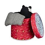 Relaxdays faltbarer Sitzhocker mit Stauraum HBT ca. 38 x 38,5 x 38,5 cm Sitzwürfel runder Hocker mit trendigem Obst Motiv Falthocker Sitzbank mit Aufbewahrungsbox mit ca. 30 l Stauraum, Drachenfrucht