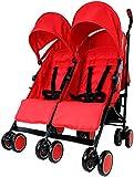 Zeta Citi TWIN Stroller Buggy Pushchair - Warm Red Double Stroller