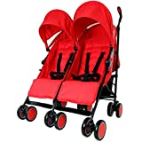 Zeta Citi TWIN Stroller Buggy Pushchair - Warm Red Double Stroller