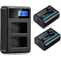 Mondpalast @ Batterie Rechargeable fw50 FW50 FW-50 pour Caméra Embarquée Lot de 2 et Chargeur Double pour Sony NP-FW50 and Sony Alpha a3000 a5000 a6000 a7 a7R a7S NEX-3 NEX-6 NEX-7 DSC-RX10