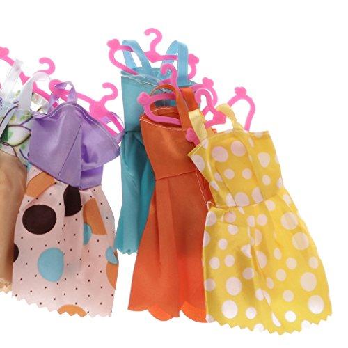 Sharplace Bambole Abbigliamento Accessori Set, 12 Pezzi Gonne e 12 Pezzi Hanger Appenditutti e 12 Paia Scarpe per Barbie
