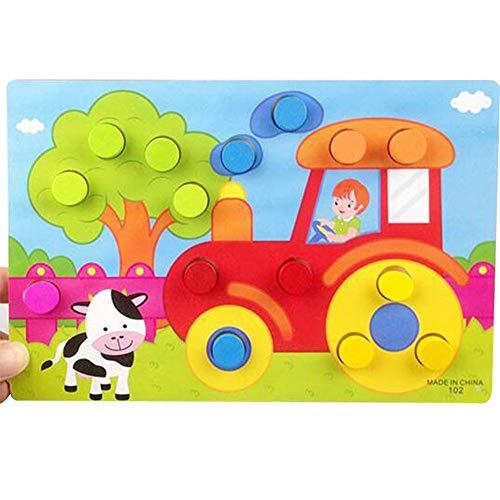 T-MEKA Steckspiel Kunterbunte Welt | Sortierspiel mit 6 bunten Motiven zum Zuordnen und Farben Lernen | Spielzeug ab 12 Monaten-Bauernhof(22.5*15cm)