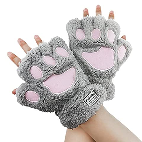 Greenery Ladies Girls Womens Cute Warm Plush Cat Paw Half-finger Fingerless Winter Gloves For Work, Typing & Touch Screen/Touchscreen Warm Gloves Riding Cycling Gloves Outdoor Sports Gloves