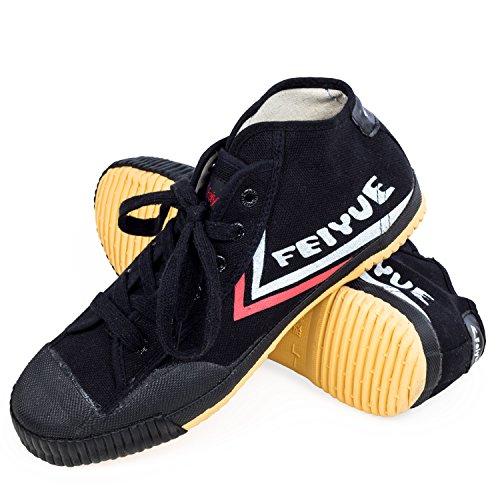 Yue fei mid cut socquettes feiyue-cadre de wushu sport & inscription parkour chaussures minimale de chaussures Blanc - Noir