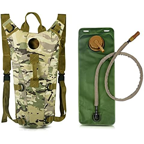 Zaino in bicicletta, zaino cavallo, Montare sacchetto della bici di riciclaggio della bicicletta Bag Escursionismo Bag 15L esterno funzionare zaino [Waterproof] [Leggera] + vescica di idratazione 2L (CP-Camuffare)
