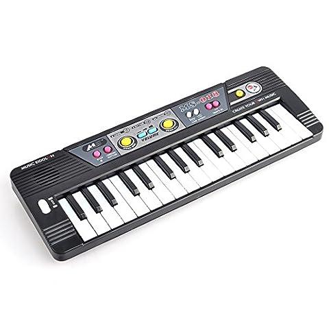 Piano Électronique, WOLFBUSH Jouet Musical de Piano de 32 Claviers avec Microphone pour Bébé Enfant MS018 - Noir