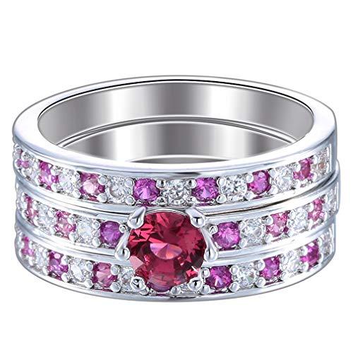 COMVIP 3Stk. Edelstahl Damen Frauen Verlobungsring Motivring Wickelring Rosa 9 (Rosa Damen-verlobungsring)