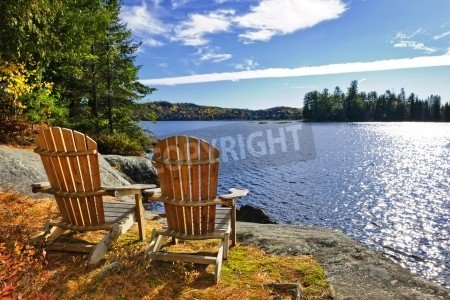 "Poster-Bild 120 x 80 cm: ""Adirondack chairs at shore of Lake of Two Rivers, Ontario, Canada"", Bild auf Poster"