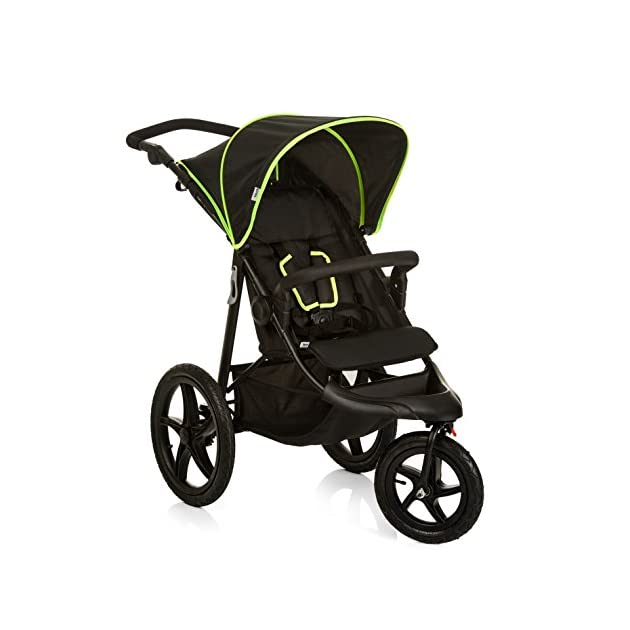 Hauck Runner Jogger Style One Hand Fold Pushchair with raincover - black/neon yellow