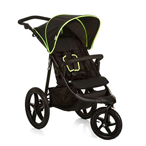 Hauck Runner, Jogger Style, 3-Wheeler, Pushchair with Extra Large Air Wheels, Foldable Buggy, For Children from Birth to 25 kg, Lying Position, Black/Neon Yellow