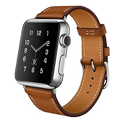 Malloom® Bracelet Pour Apple Watch 42MM en PU cuir véritable pour une seule visite Bande de montre (Marron, 42mm)