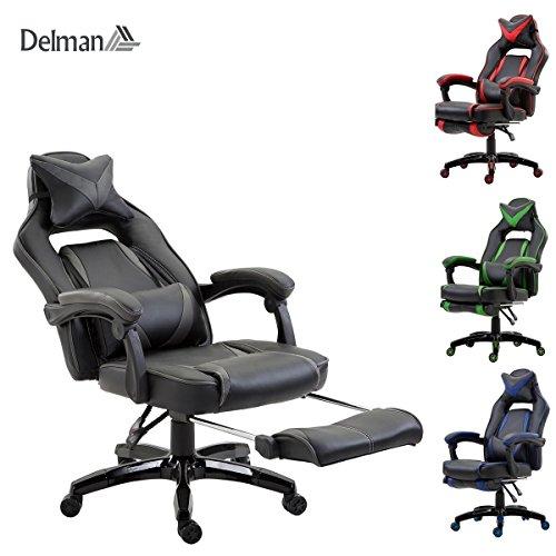 Delman XXL Racing Bürostuhl Schreibtischstuhl Gaming Chair Drehstuhl Höhenverstellbar mit Fußstütze Fußablage mit Armlehnen Chefsessel Große Sitzfläche dicke Polsterung 11cm 02-0019 (Schwar-Grau)