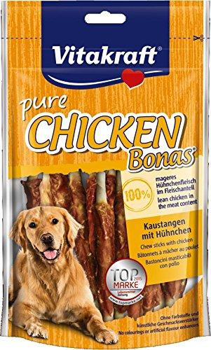 Vitakraft Pure Chicken Bonas, Kaustange mit Hühnchen für Hunde (1 x 80 g) Trocken-fettarme Milch