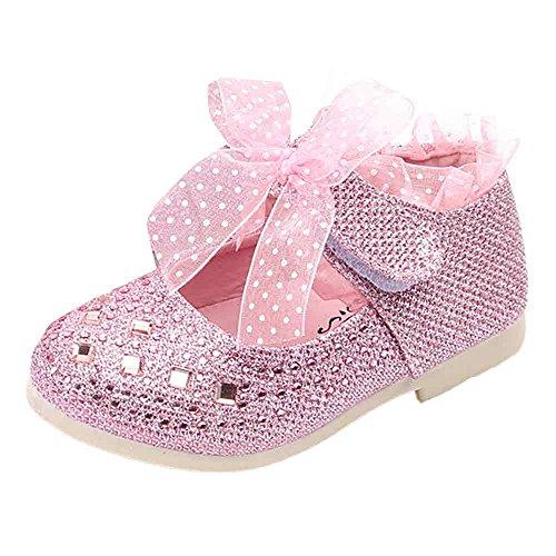 Hunpta Baby Mädchen Prinzessin Schuhe Kind Spitze Diamanten Leder Tanzschuhe Rosa
