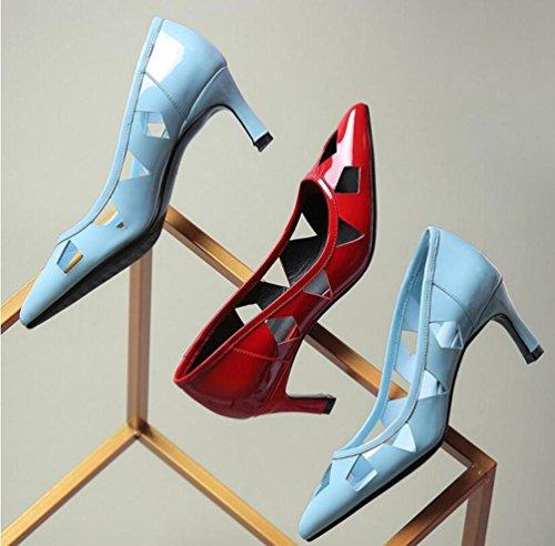 OL Pumps Hohle Hochzeit Kitten Low Heel Peep Toe Frauen Elegante Schuhe EU Größe 34-39 Blue