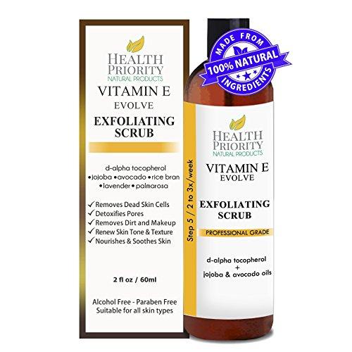 100% Natürliches Vitamin-E-Gesichtspeeling. Das reiche & cremige Peeling mit Jojobaperlen + Alpha-Hydroxy-Säure hilft, das Gesicht zu waschen, zu reinigen & zu peelen. Das beste Peeling, um einen unebenen Hauttonus und Akne zu beheben. (2 flüssige Unzen) (Pocket-light Zwei Blue)