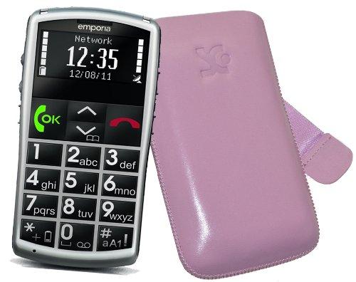 Original Suncase Tasche für / Emporia Talk Comfort / Emporia Talk Comfort Plus / Emporia Talk Basic / Leder Etui Handytasche Ledertasche Schutzhülle Case Hülle *Lasche mit Rückzugfunktion* in rosa