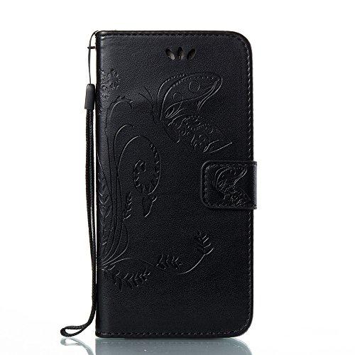 EKINHUI Case Cover Horizontale Folio Flip Stand Muster PU Leder Geldbörse Tasche Tasche mit geprägten Blumen & Lanyard & Card Slots für Samsung Galaxy A5 2017 ( Color : White ) Black