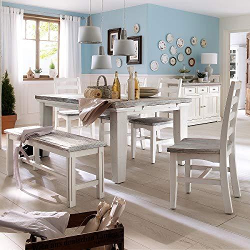 Möbel Akut Tischgruppe Opus Landhaus Esszimmer Set Esstisch ausziehbar Esszimmerstühle Bank Holz in Kiefer weiß 180x90 cm (Set Bank Esszimmer)