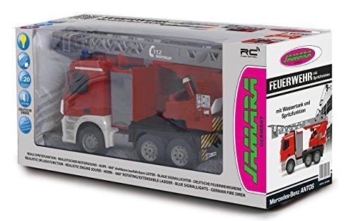 RC Auto kaufen LKW Bild 6: Jamara 404960 - Feuerwehr Drehleiter 1:20 Mercedes Antos 2,4G – deutsche Sirene mit blauen LED Signallichtern, 420 ml Wasserbehälter, reale Spritzfunktion, programmierbare Funktionen, 4 Radantrieb*