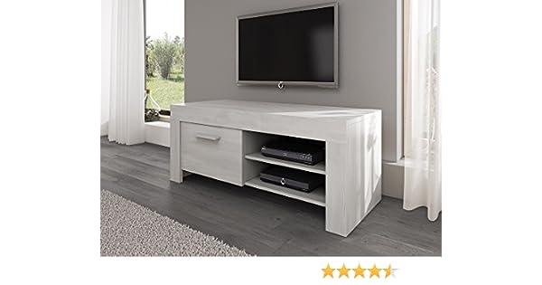TV Möbel Ständer Schrank Fernsehtisch Fernsehschrank Rome 120 Cm Weiß  Eiche: Amazon.de: Küche U0026 Haushalt