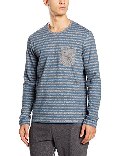Marc O'Polo Body & Beach Herren Mix Shirt LS Crew-Neck Schlafanzugoberteile, Grau-Jaspe 211, Large - Firma Logo-polo-shirts