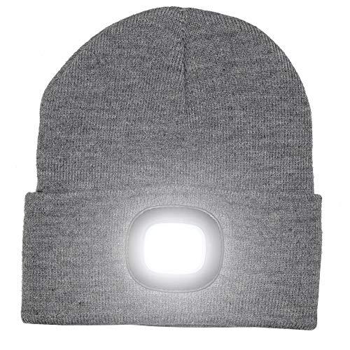 Frei-licht-lampe (Mütze mit LED-Lampe, helles Licht, wiederaufladbar, warme Beanie-Mütze, so haben Sie die Hände frei, für die Jagd, fürs Camping, fürs Grillen, grau)