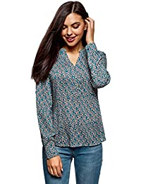 oodji Collection Mujer Blusa Recta de Viscosa