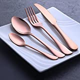 Buyer Star 4 pezzi Oro rosa Posate acciaio inossidabile Posate Argenteria utensili in acciaio Dinnerware Set cucchiaino Coltello Forchetta