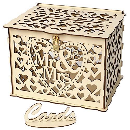 Maritown Hölzerne Hochzeit Karte Box, rustikale Vintage Floral Hollow Hochzeitswünsche Post Box mit Schloss für Hochzeiten Empfänge Geburtstage Graduierungen Baby Duschen Party Decor (Hochzeit Rustikale Box Karte)