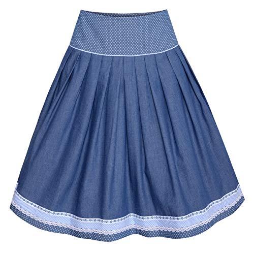 Country Line Damen Trachten-Mode Rock Valeska in Blau 60 cm traditionell, Größe:36, Farbe:Blau