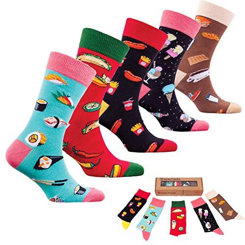 socks n socks-Männer 5 pk Bunte Baumwolle Neuheit Sushi Fastfood Socken Geschenkbox Einheitsgröße - 100% Baumwolle Kleid Socken