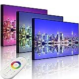 Lightbox-Multicolor   Bild mit LED Hintergrundbeleuchtung   Manhattan Skyline Spiegelung   60x40 cm   Front Lighted