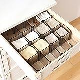 Warrah Verstellbares Set mit 6Boxen Schubladen-Trennwände zum Organisieren von Socken, Kosmetik und Krawatten und mehr Schwarz.