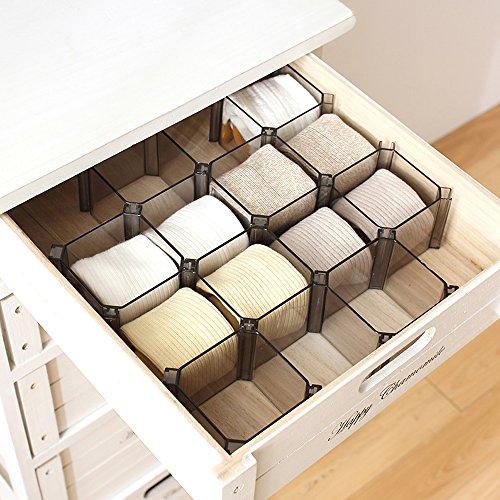 Kleiderschrank Schrank Fertig (Warrah Verstellbares Set mit 6Boxen Schubladen-Trennwände zum Organisieren von Socken, Kosmetik und Krawatten und mehr Schwarz.)