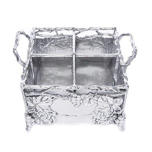 Arthur Court Designs Aluminium 21,6x 21,6cm Grapevine Besteck Caddy Metallic-grapevine