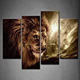 Guokee Encadré Wall Art Photos Lion Stormy Sky Impression sur Toile Artwork Animaux...