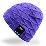 Rotibox Winter Washable Bluetooth Music Beanie Luxury Soft Warm Skully Knit Hat Cap w/ Wireless Headphone Headset Earphone Microphone Hands Free for Excrise Gym Sports Fitness Running Skiing - Purple