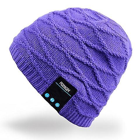 Rotibox hiver lavable Bluetooth Music Beanie Luxe doux chaude Skully Knit casquette chapeau avec casque sans fil Casque Microphone mains libres pour Excrise Gym Sports Fitness Running Ski -