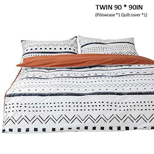 wäsche Set Reversible Baumwolle Kissen Bettbezug Bettdecke Set Geometrische Muster mit Reißverschluss, Twin/Queen/King Size für Jugendliche Erwachsene positive ()