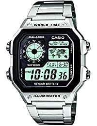 Casio Collection – Reloj Hombre Digital con Correa de Acero Inoxidable – AE-1200WHD-1AVEF